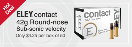 ELEY contact $4.25 box of 50 .22lr rimfire ammunition
